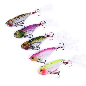 5pcs/lot Vibration Metal VIB Fishing Lures 5.5CM 11G Colorful Tackle Blade Sinking hot sales