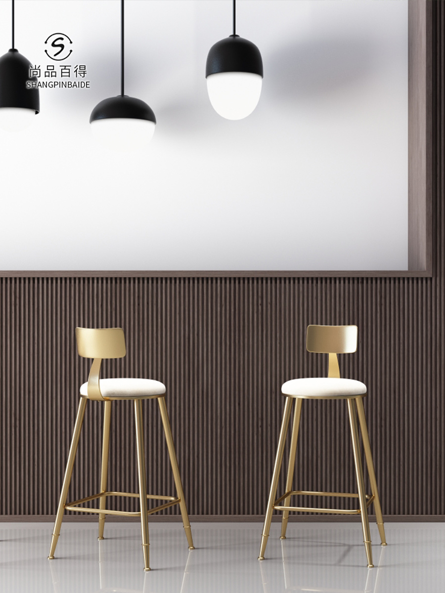 Nordic Bar Chair Tieyiins Creative Dining Chair Golden Bar Chair Simple Barstool Cafe Back High-legged Chair