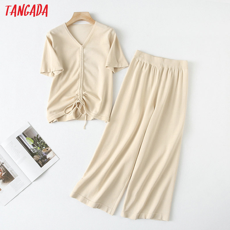 Tangada Women Solid Knit Summer Pants Set 2020 Summer Fashion New Suit 2 Piece Set Crop Top And Pants YU75