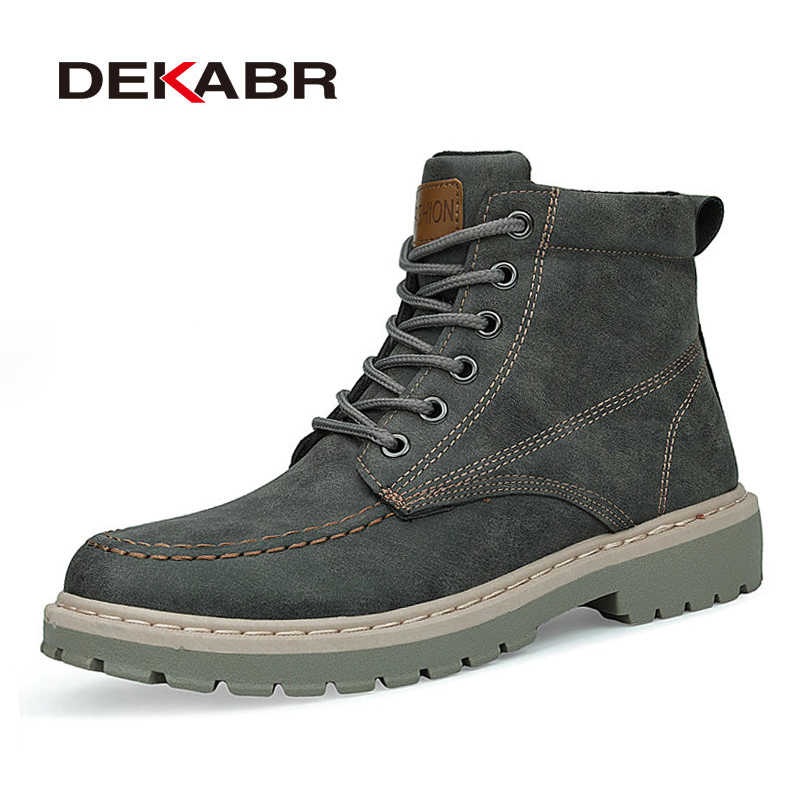 DEKABR Winter New Men PU Leather Ankle Snow Boots Anti-Skidding Motorcycle Warm Boots 2019 High Quality Fashion Autumn Shoes
