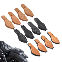 Leather Brown Black Solo Rider Driver Seat Two-Up Seat Rear Passenger Pillion Pad For Harley Sportster XL 883 1200 883 72 48
