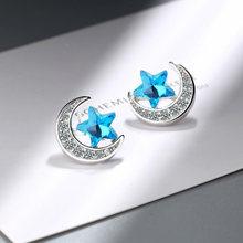 Новые простые серьги гвоздики с синими кристаллами и пентаграммой