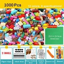 1000 pçs cidade criativa colorido conjuntos a granel blocos de construção diy educacional técnica tijolos montagem brinquedos para crianças presentes dos miúdos