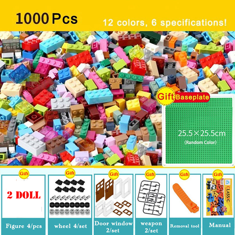 1000PCS City DIY Creative Classic Bricks Bulk Model Figures Educational Kids Toys Gifts Compatible LegoINGlys Building Blocks