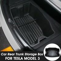Audew 1Pc Waterproof Easy installation Car Rear Trunk Storage Box Black PP Auto Rear Container Organizer Tray For Tesla Model 3