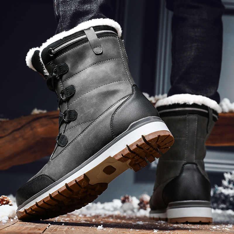ENPLEI 2019 Winter Met Bont Snowboots Voor Mannen Sneakers Mannelijke Schoenen Volwassen Casual Kwaliteit Waterdichte Enkel Warme Laarzen Maat 38-46