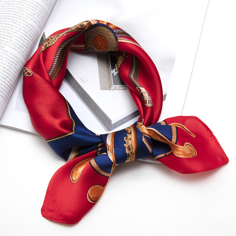 XFJ5555 New Fashion Small Square Scarves Really Closely Women Autumn and Winter Wild Satin100% Silk Scarf image