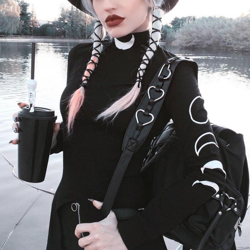 Gothic Moon Print Dresses Grunge Turtleneck Long Sleeve Mini Dress Fashion Design Bottom Split Black Darkness Streetwear Dress