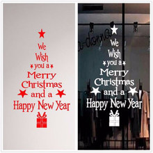 DIY Wall Decals PVC Merry Christmas Wall Stickers for Kids Living Room Blessing Christmas Tree Wallpaper House Bedroom Decor(China)