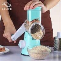 TTLIFE Mandoline Slicer Manuelle Gemüse Cutter mit 3 Edelstahl Klingen Zwiebeln Kartoffel Karotte Reibe Slicer Küche Werkzeuge