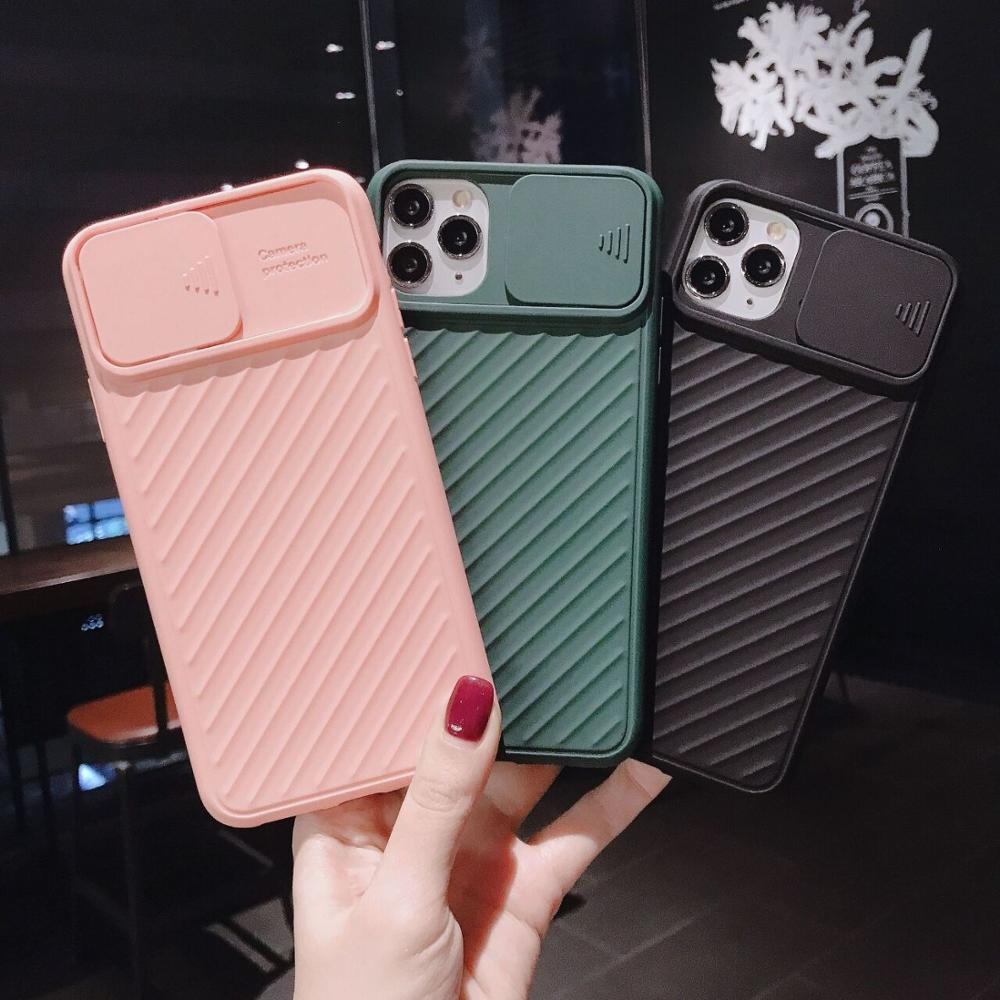 Phone Case for iPhone 11 Pro Max XS XR X XS Max Plus with Protection Camera Lens Sliding Cover Slim Fit Soft TPU Back Shell image