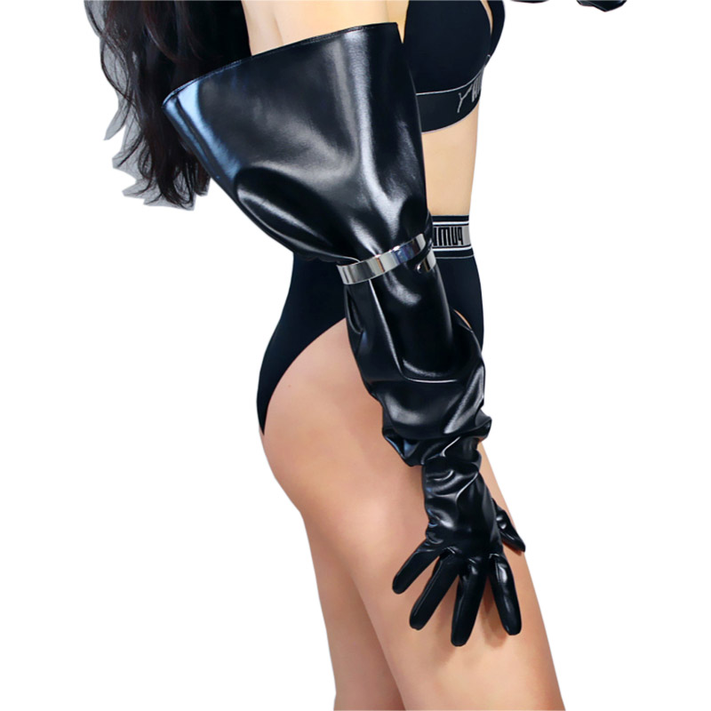 Special Sales LONG GLOVES Unisex Black Faux Leather 70cm Wide Balloon Puff Sleeves Women Leather Gloves Touch Screen BK66
