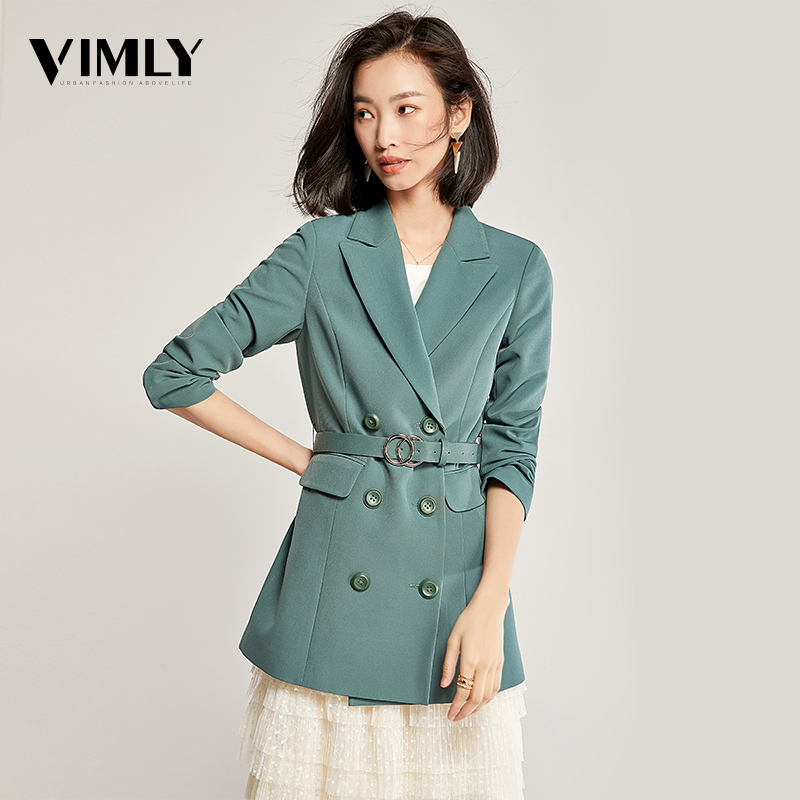Vimly Women Solid Elegant Blazer Autumn Winter Belted Office Lady Outerwear Female Casual Women Double-Breasted Button Blazer