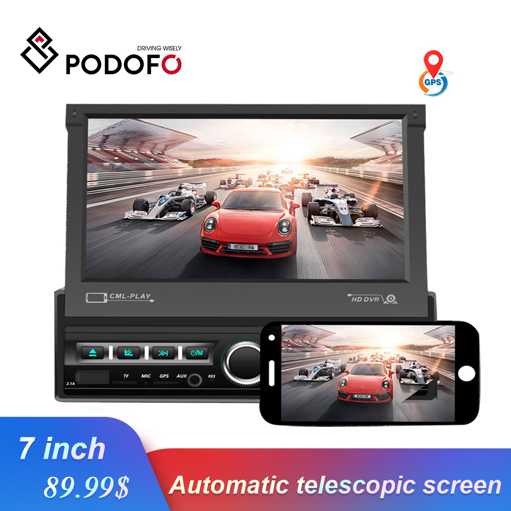 Podofo Car Radio 1 din Retractable Touch Screen Car Stereo GPS Video Player Autoradio Support Mirror link Bluetooth radio coche image