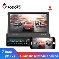 Podofo Car Radio 1 din Retractable Touch Screen Car Stereo GPS Video Player Autoradio Support Mirror link Bluetooth radio coche