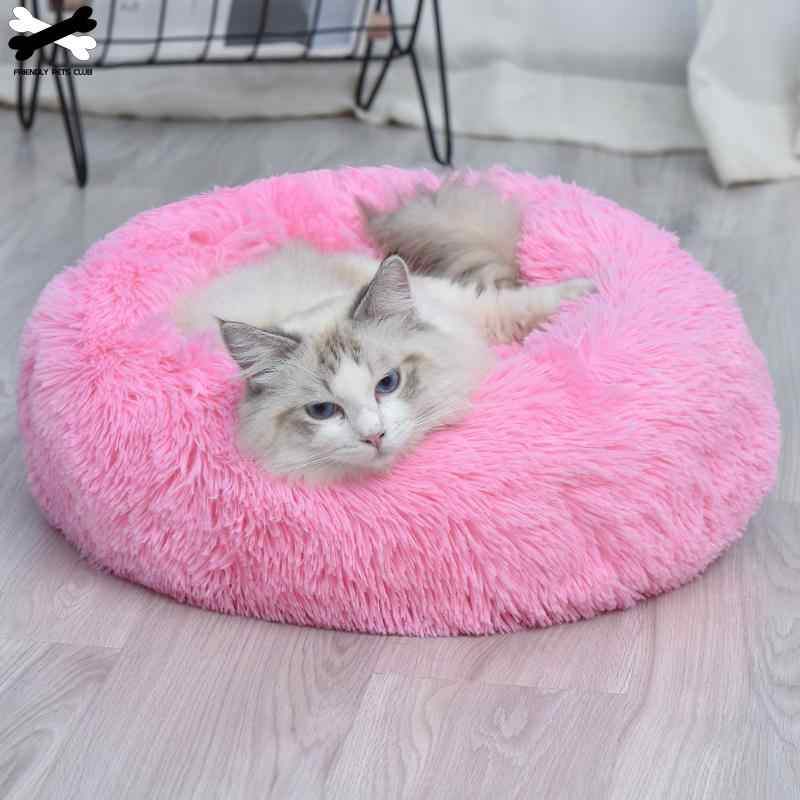 Cão de estimação cama confortável donut cuddler redondo canil cão ultra macio lavável cão e gato almofada cama inverno quente sofá sell2810