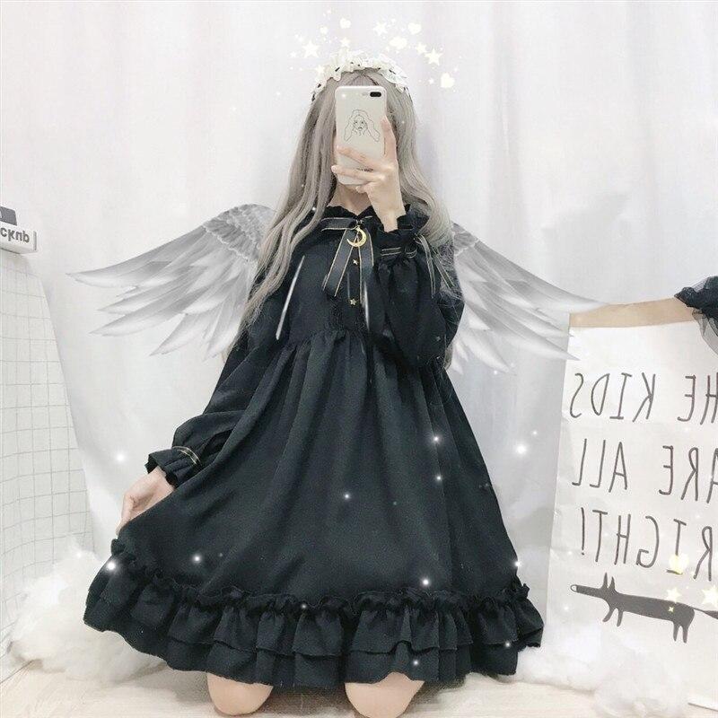 521.31грн. 35% СКИДКА|Готическое платье в стиле Лолиты, мягкое винтажное темно милое платье с бантом и луной, гофрированное чайное платье, вечерние платья в викторианском стиле, милая сказочная одежда принцессы|  - AliExpress