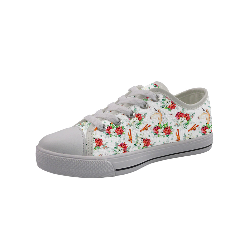 NOISYDESIGNS 2020 Spring Fashion Low-top Kids Canvas Shoes White Flower Horse Printed Children Sneakers Casual Baby Girls Boys