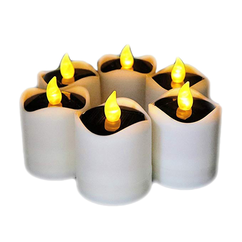 Top 6Pcs Waterproof Solar Power Flickering Led Flameless Candle Tealights Smoke Free for Christmas Party Decoration Outdoor (Yel|  -