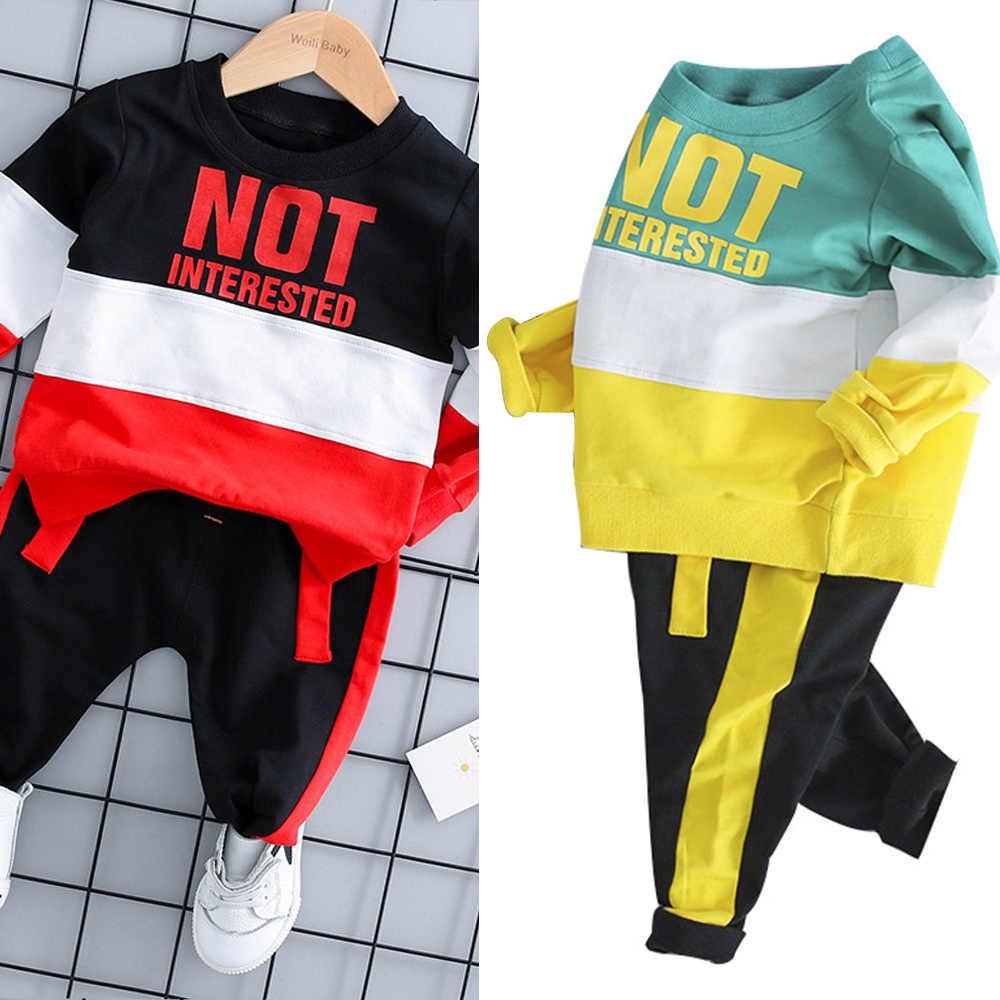 2019 automne bébé mode Sport costume 1-4 ans enfants à manches longues T-shirt + pantalon enfants bambin garçon fille vêtements décontractés ensemble