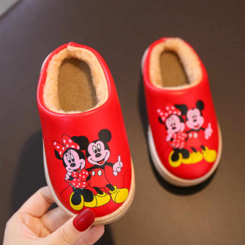 Herfst Winter Thuis Slippers Kinderen Baby Jongen Meisje Cartoon Mickey Minnie Kamer Skid Warme Pantoffels Houden Kinderen Dikker Indoor Schoenen