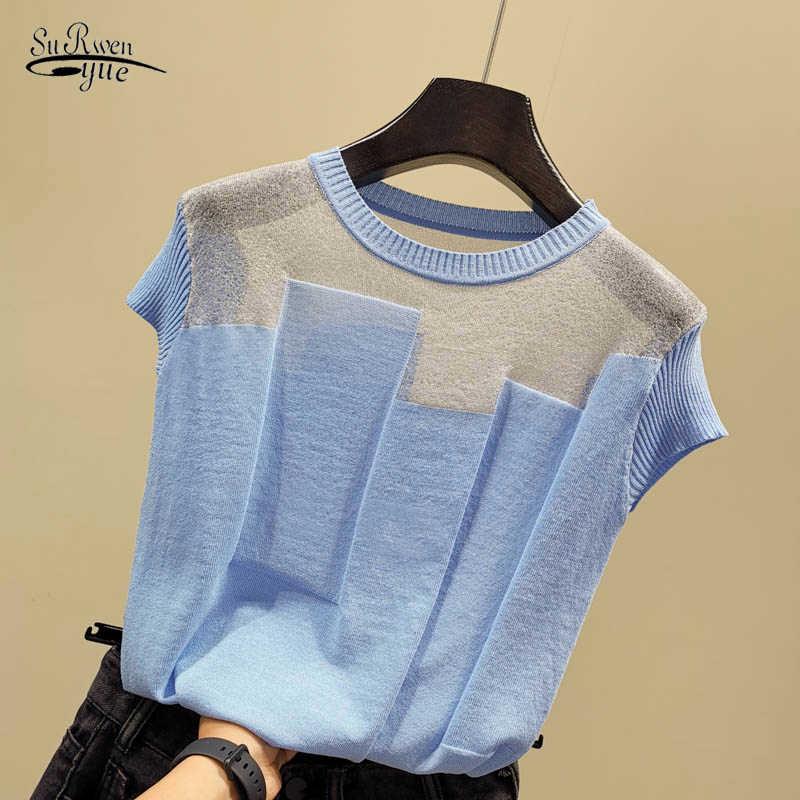 Coréen Patchwork glace soie tricoté hauts Blusas Mujer De Moda 2020 femmes o-cou manches courtes pull mode mince Blouse 8796