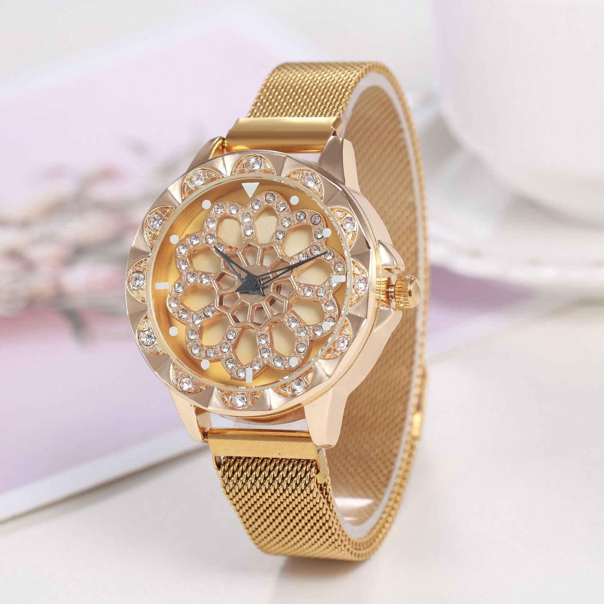 Роскошные женские часы из розового золота, специальный дизайн, вращение на 360 градусов, бриллиантовый циферблат, сетчатый магнит, звездное небо, женские кварцевые часы