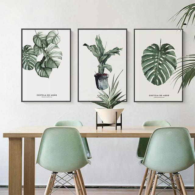Elegantพืชสีเขียวพิมพ์สไตล์ภาพบ้านโรงแรมตกแต่งของขวัญ (ไม่มีกรอบ)