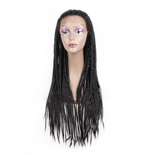 Braided Wigs Afro Lace-Front Hair Straight-Box Synthetic Black Women 26inch for Daily-Wear