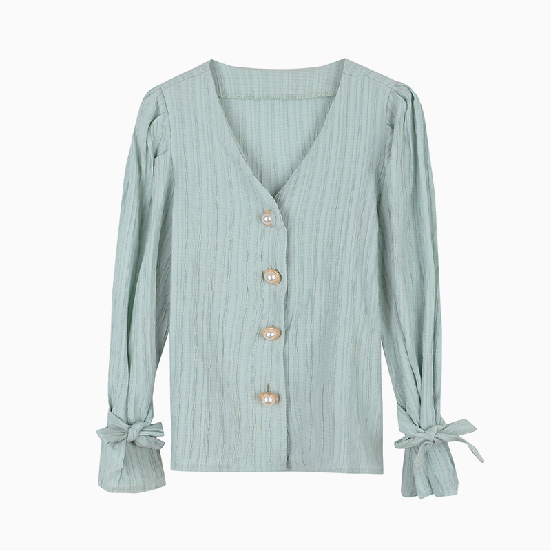 H0cefa2772ef441d786822f4813091391g - Spring / Autumn Korean Long Sleeves Pearl Buttons Solid Blouse