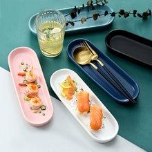Овальная прямоугольная керамическая тарелка розовая простая