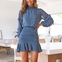Women Turtleneck Loose Shirt Dress Fashion Butterfly Sleeve Ruffles Mini Skirts Autumn Short 2pcs/set