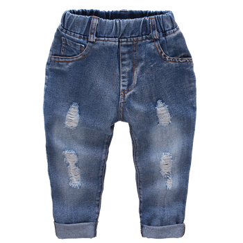 Ripped Jeans Girl Hole Baby Girl Jeans Casual Style Jeans Kids Solid Color Children's Clothing 1