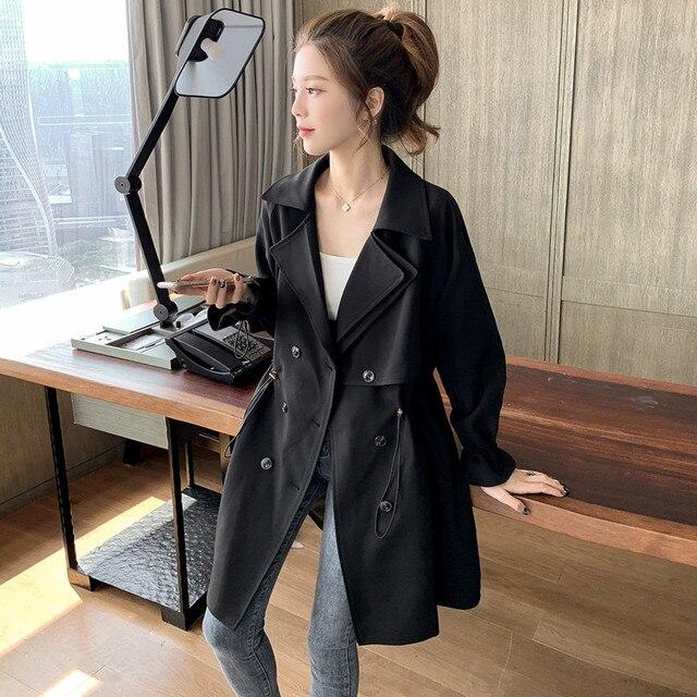FTLZZ Women Windbreaker Spring Autumn Classic Trench Coat Casual Thin Female Overcoat Long Coat Female Slim Outwear Coats 4