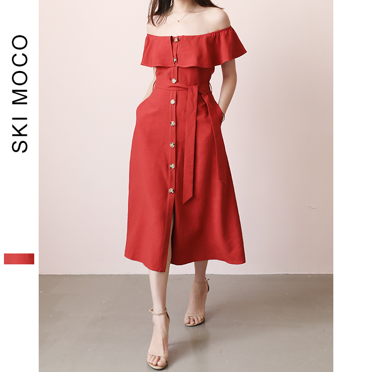 1950s Vintage robe mi-mollet soleil robe Slash cou avant Botton robe de soirée avec ceinture femme robes rétro