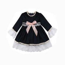 Autumn Winter Girls Dresses Casual Long Sleeve Baby Clothing Cotton Solid Lace Toddler Dress for 1-6Y Children Costume цены онлайн
