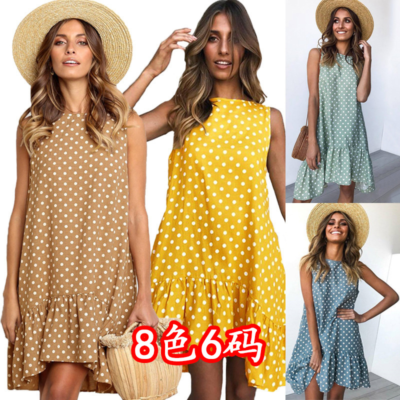 Women Clothes 2020 Vintage Dot Print Sleeveless Dress Summer Ruffles Midi A Line Women Chiffon Dress Street Party Beach Vestidos