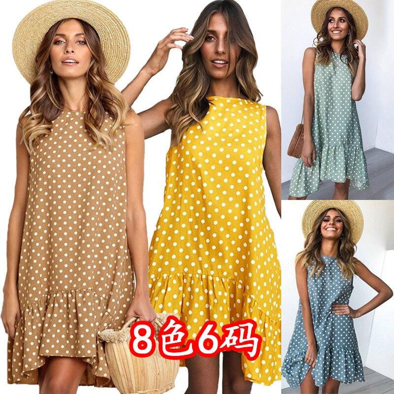 Women Clothes 2020 Vintage Dot Print Sleeveless Dress Summer Ruffles Midi A Line Women Chiffon Dress Street Party Beach Vestidos