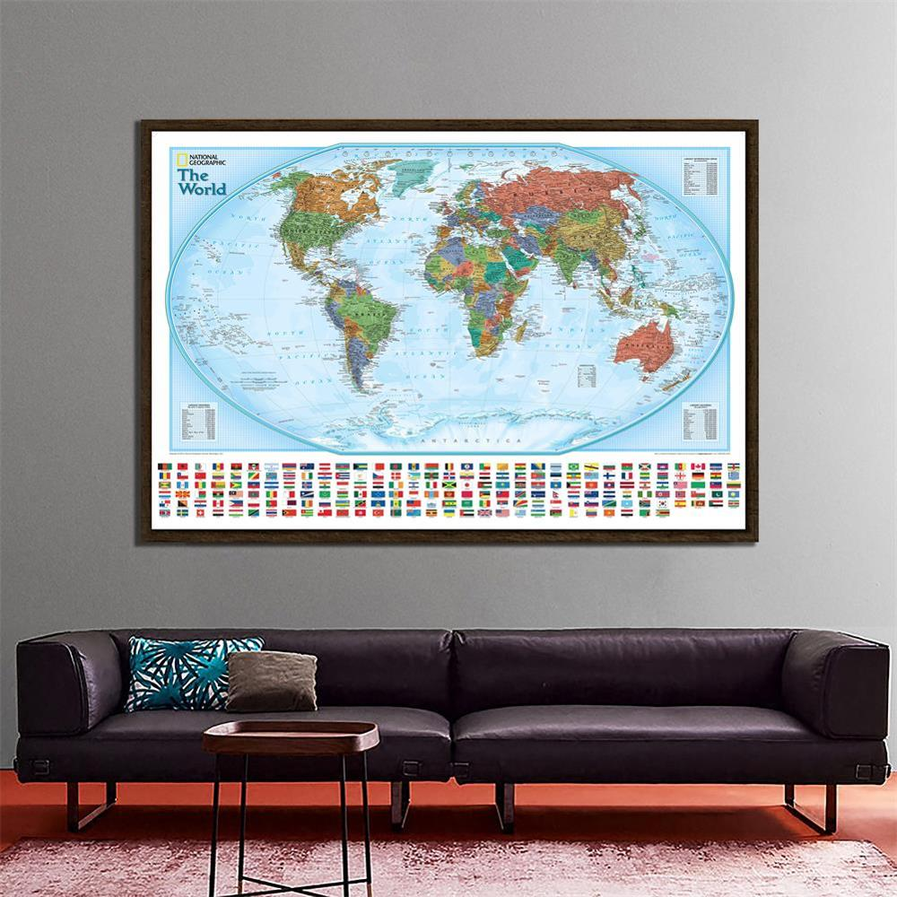 150x225cm Non-woven Physical World Map With National Flags The World Hammer Projection Map For Culture And Education