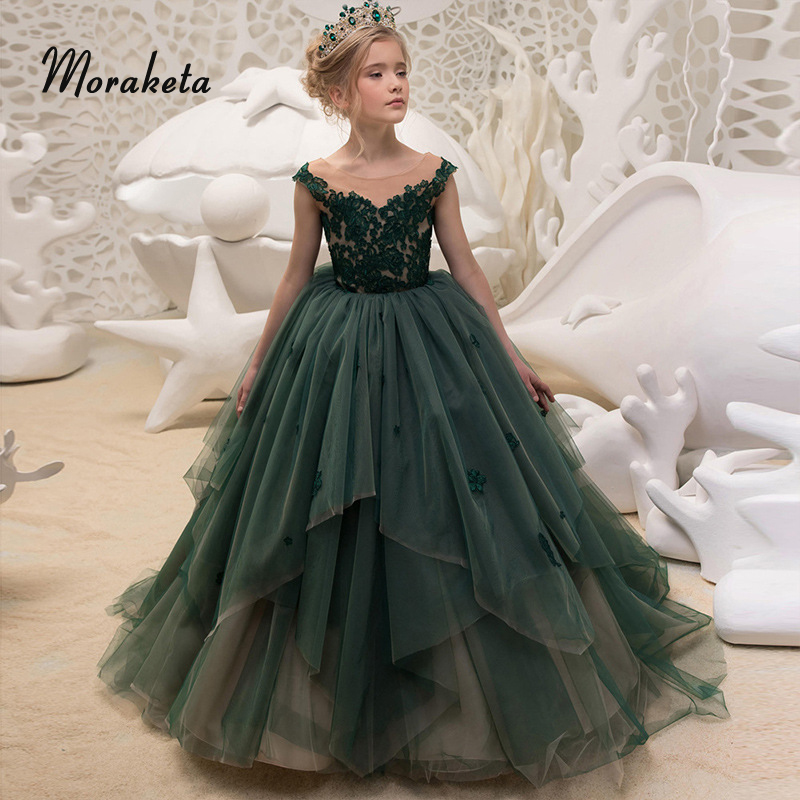Green Ball Gown Toddler Pageant Dresses Elegant Floor-length Princess Kids Evening Dresses Luxury Lace Appliques Kids Prom Dress