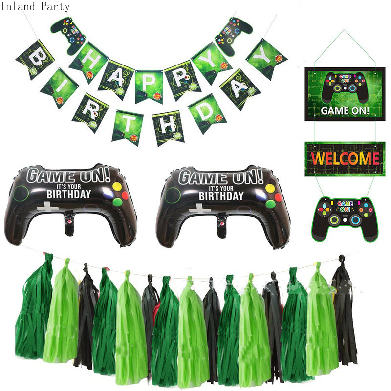 Video Game Happy Birthday Banner Gamepad Boy Inflate Party Supplies Toy GAME ON Foil Balloon Happy Birthday Decoration Kids Toys