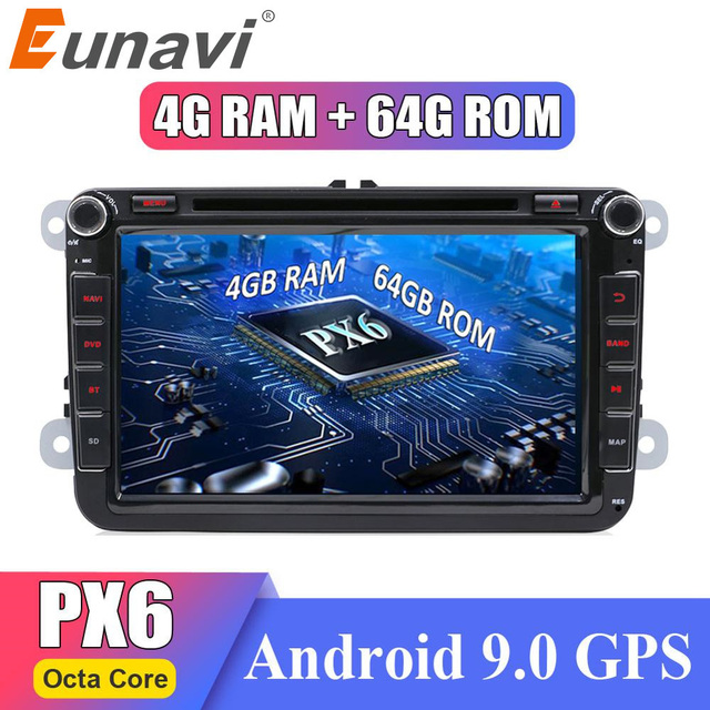 Eunavi 2 din Android 9 Octa Core 4GB 64GB Car DVD for VW Passat CC Polo GOLF 5 6 Touran EOS T5 Sharan Jetta Tiguan GPS Radio DSP