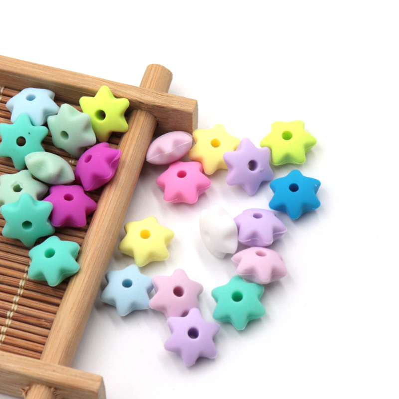 TYRY.HU 50 Pieces Silicone Star Beads Baby Teething Beads  BPA Free DIY Pacifier Chain Silicone Teething Beads