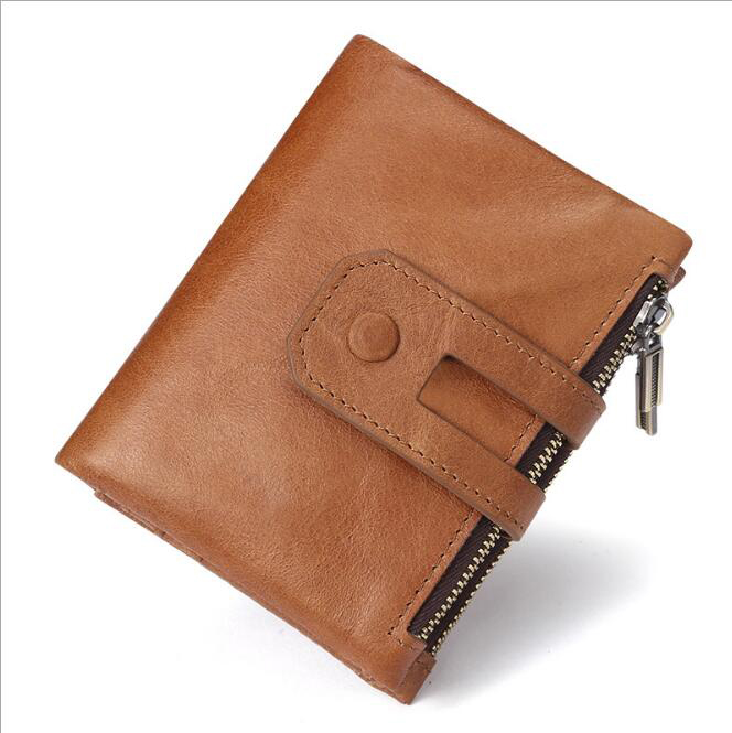 Men Wallet Leather ID Credit Card Holder Coin Purse Luxury Brand Wallet double Zip Multi Card Holder Retro Clutch Coin Purse