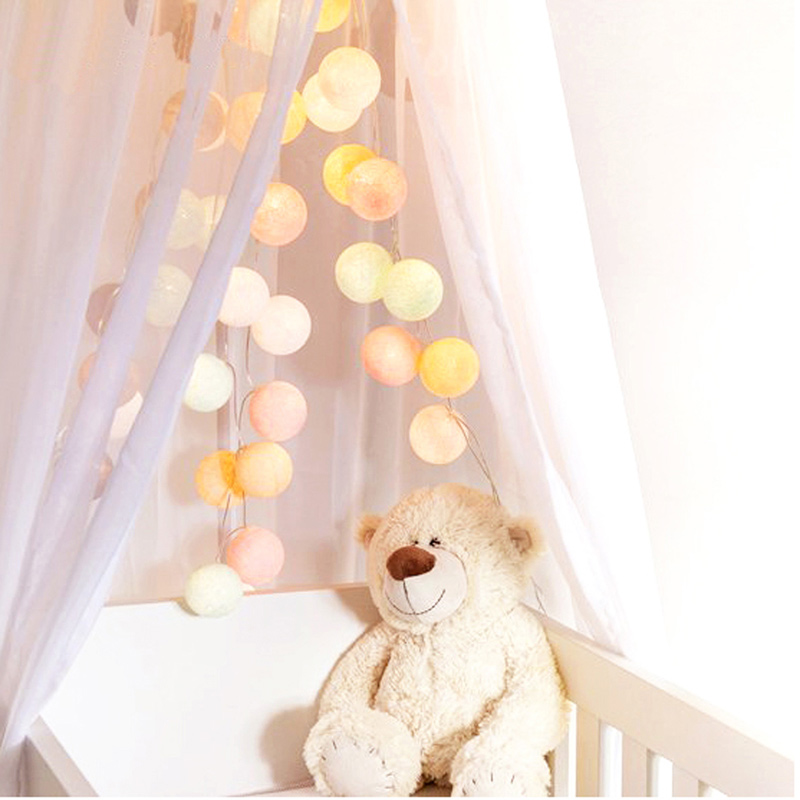 Fairy Lights Garland LED Cotton Balls Light String Outdoor Christmas Tree Decorations Night Lamp For Salon Holiday Shopping Mall