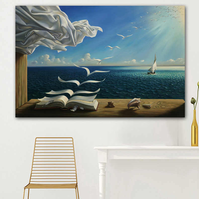 Salvador Dali Canvas Art Poster The Sea Waves Book Sailboat Picture Canvas painting Diary of Discovery by Vladimir Kush Wall Art