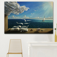 The waves book sailboat for Salvador Dali Art POSTER PICTURE PRINT ON CANVAS OIL PAINTING free shipping