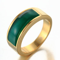 RG123G Finger Ring Gold Green Stone Stainless Steel Jewelry Glass Factory Price Fashion Men or Women