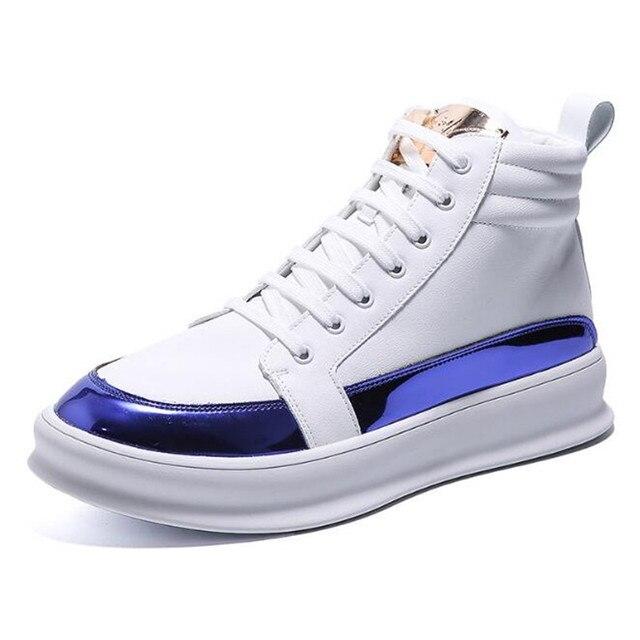 Zapatillas de deporte de lujo para hombre, zapatos altos informales de microfibra, botas de cuero, a la moda, primavera y otoño, novedad de 2020 5