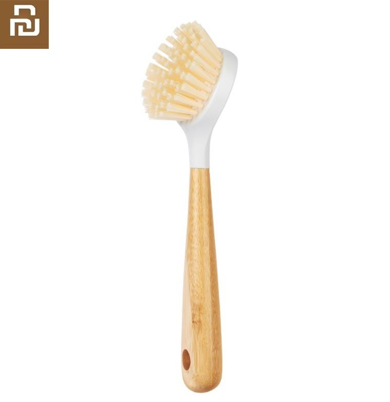 Youpin Household Bamboo Long Handle Pot Brush Kitchen Cleaning Brush Strong Decontamination Durable